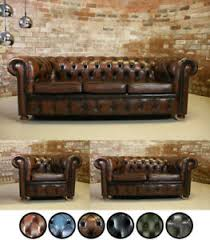 Chesterfield Sofa Suite Handmade Genuine Real Leather Chesterfield Sofa Suite Settee