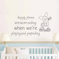 classic baby nursery promotion shop for promotional classic baby pig wall decal quote happy times are never ending birthday gifts baby bedroom girl kids nursery decor