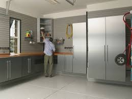 modern light gray garage ideas with light gray wall painted 3 simple garage decorations ideas with garage brushed aluminum cabinets decorative gray stripe wall and