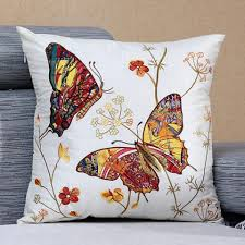 colorful butterfly embroidered pillow pastoral style decorative