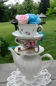Mad Hatter Tea Party Centerpieces by Pink Or Blue Stacked Teapot U0026 Teacup Centerpiece Pearls Key