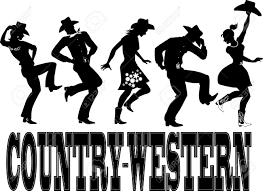 silhouette of people dressed in western style clothes dancing