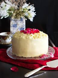 vertical layer red velvet cake with cream cheese icing