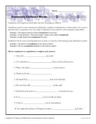 complement vs compliment worksheet commonly confused words
