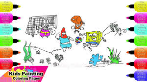 how to draw spongebob squarepants play football with friends