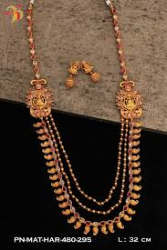 real gold necklace designs images One gram gold necklace set in real temlple ruby and emerald dsep12 jpg
