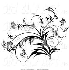 Black And White Design by Clip Art Of A Elegant Black And White Flourish Plant Scroll