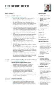 Qa Engineer Resume Example Quality Engineer Resume Samples Visualcv Resume Samples Database