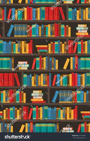 colorful bookshelves design bookstore ereader library stock vector