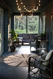 exterior awesome screened in porches with round rug and wicker