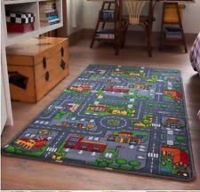 kids large red city play mat rug children non slip backing playmat