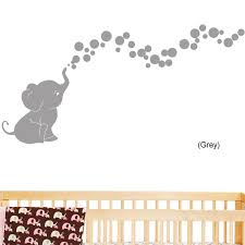 amazon com elephant bubbles nursery wall decal set grey baby