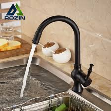 kitchen faucets rubbed bronze finish single handle goose neck swivel rotation kitchen faucet single