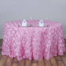 fuschia pink table cloth 120 pink wholesale grandiose rosette 3d satin tablecloth for