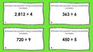 division task cards estimate quotients by iteach in a small town