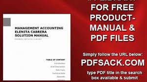 management accounting elenita cabrera solution manual video