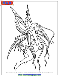 long hair fairy with wings coloring page h u0026 m coloring pages