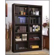 espresso colored wooden bookcases