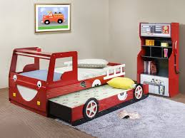 red kids bed car shape that can be applied on the wooden floor