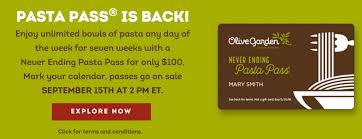 Olive Garden Never Ending Pasta Bowl Is Back - order your never ending pasta pass september 15th seven week of