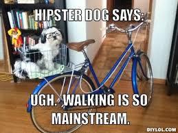 Hipster Meme Generator - hipster dog meme generator hipster dog says ugh walking is so
