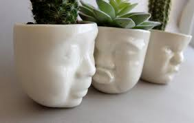 ceramic succulent planter set small pot face planters head
