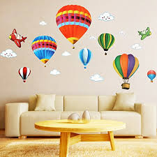 Wall Decals Kids Rooms by Amaonm Removable Creative 3d Air Balloon Aircraft And Smile