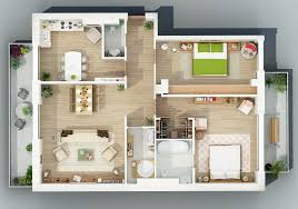 apartment designs shown with rendered 3d floor plans design