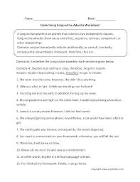 underlining conjunctive adverbs worksheet englishlinx com board
