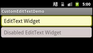 text android changing background color and border color of an edittext widget