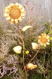tin sunflower yard stake yard ornament