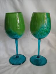Hand Blown Wine Glasses by 2 Abrolhos Art Wine Glasses In Green And Blue Handblown And