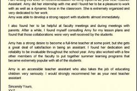 recommendation letter for teacher assistant templatezet