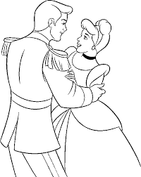 coloring pages princess cinderella and prince dancing 809