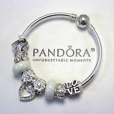pandora silver bangle charm bracelet images Authentic pandora bangle bracelet silver white charms notice jpg