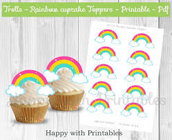 trolls cupcake toppers rainbow trolls cake toppers rainbow