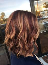 red brown long angled bobs rusk copper violet base balayage highlights angle bob curl with