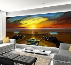 3d Wallpaper For Bedroom Creative Oil Painting Motorcycle Rider Sunset Large Mural