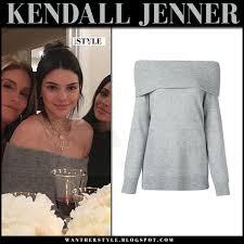 jenner sweater kendall jenner in grey shoulder sweater on november 24 i