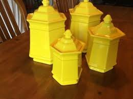 yellow kitchen canisters 4 vintage royal haeger usa bright yellow kitchen canisters large