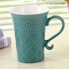 office coffee mugs 1pcs new keyama candy color elegant embossed glaze ceramic