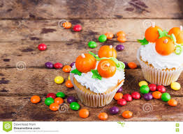 halloween cupcakes with colored decorations stock photo image