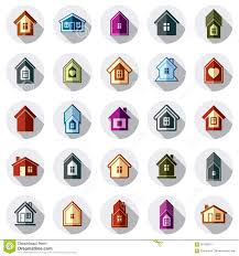 colorful different houses icons for use in graphic design set