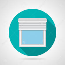 round blue flat vector icon simple plastic window with rolled