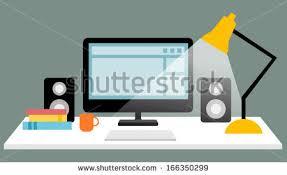 Flat Computer Desk Flat Design Vector Illustration Modern Workspace Stock Vector