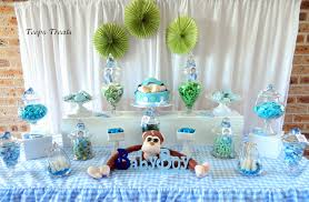 monkey baby shower blue and green candy buffet candy buffets by
