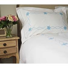 embroidered hem stitch bed linen in blue bed linen