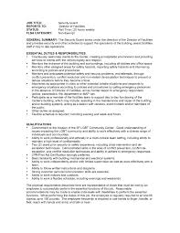 Security Officer Sample Resume by Unarmed Security Guard Resume Resume For Your Job Application