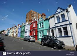 Different Houses by Different Colour Houses In Blaker Street Brighton Uk Stock Photo