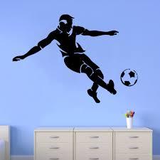 28 soccer wall mural soccer ball football silhouette wall soccer wall mural soccer wall decals man football player decal sport vinyl